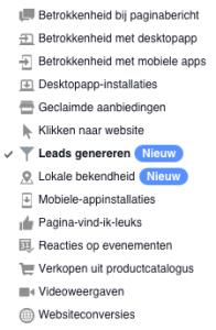 Facebook campagne doelen