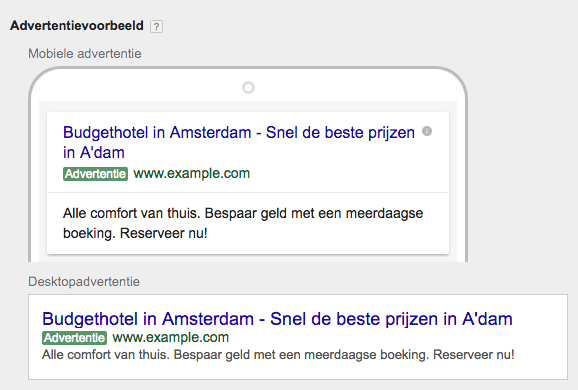 google expanded text ads voorbeeld