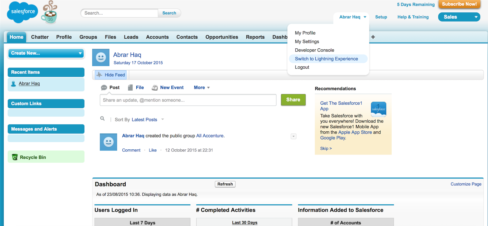 salesforce crm oude interface