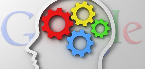 google logo hoofd met gekleurde tandwielen seo tool