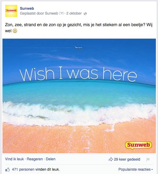 Killer content voorbeeld opgemaakte afbeeldingen sunweb facebook