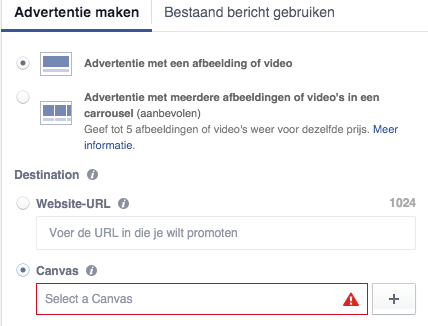 Voorbeeld facebook canvas maken en instellen
