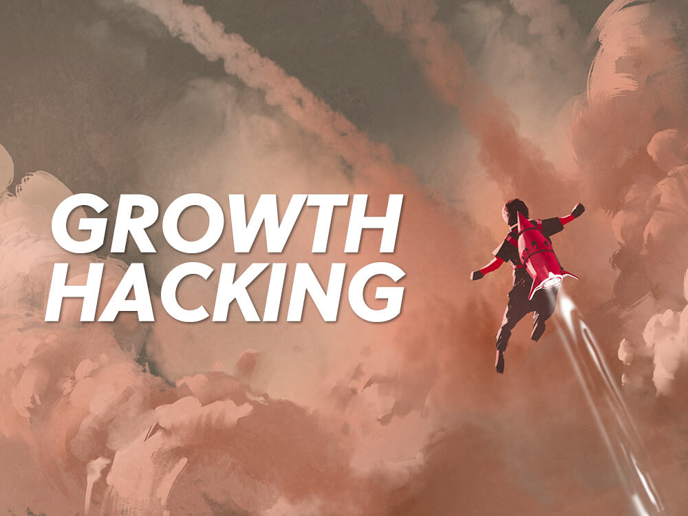 Growth Hacking man with rocket