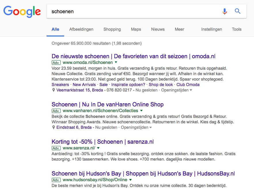 voorbeeld zoekmachine advereren