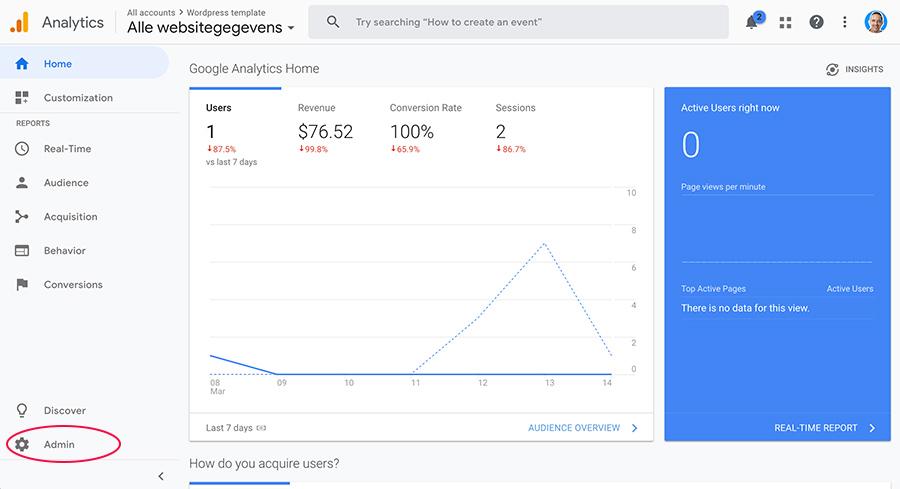 Google Analytics instellingen