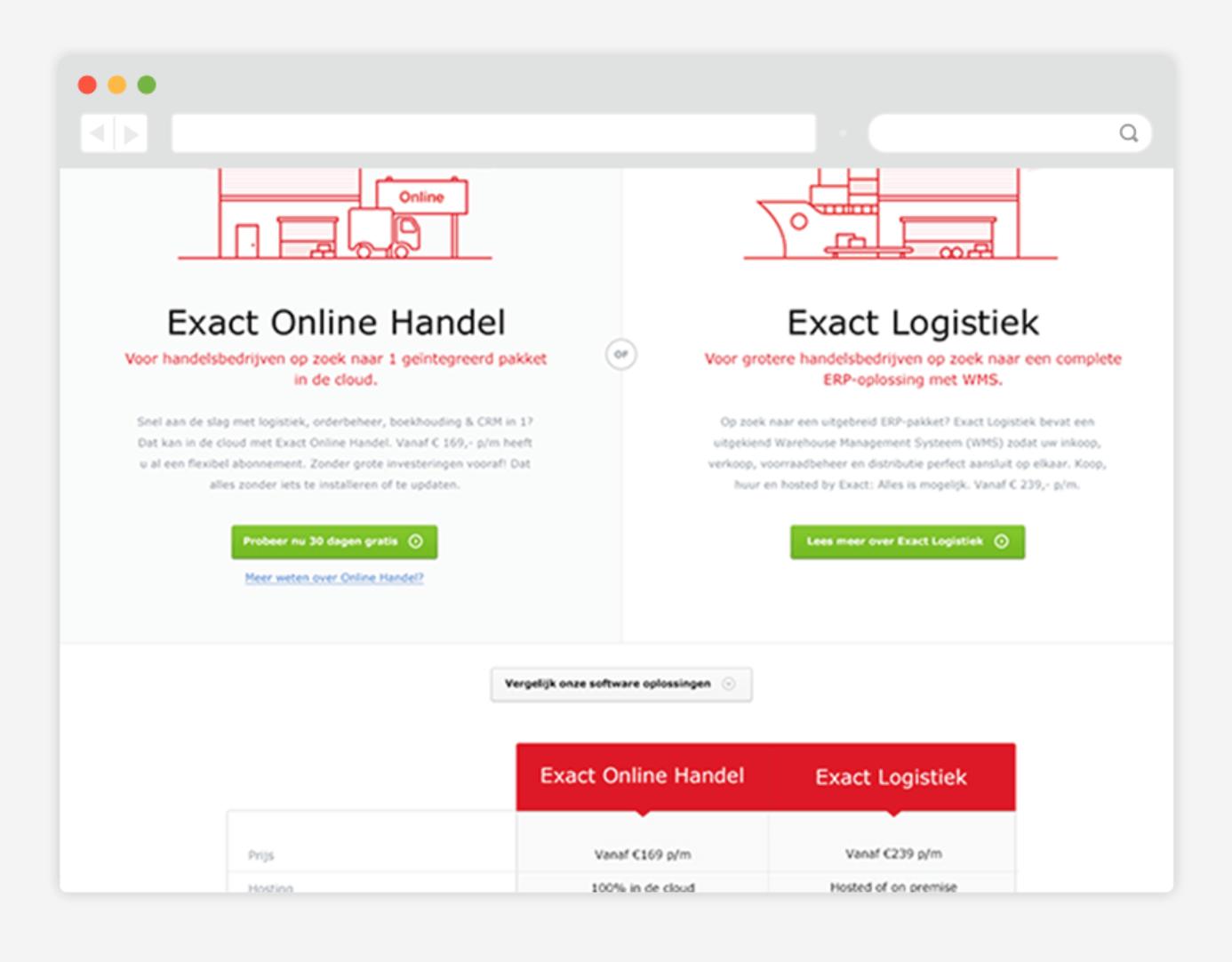 Exact online landingpagina