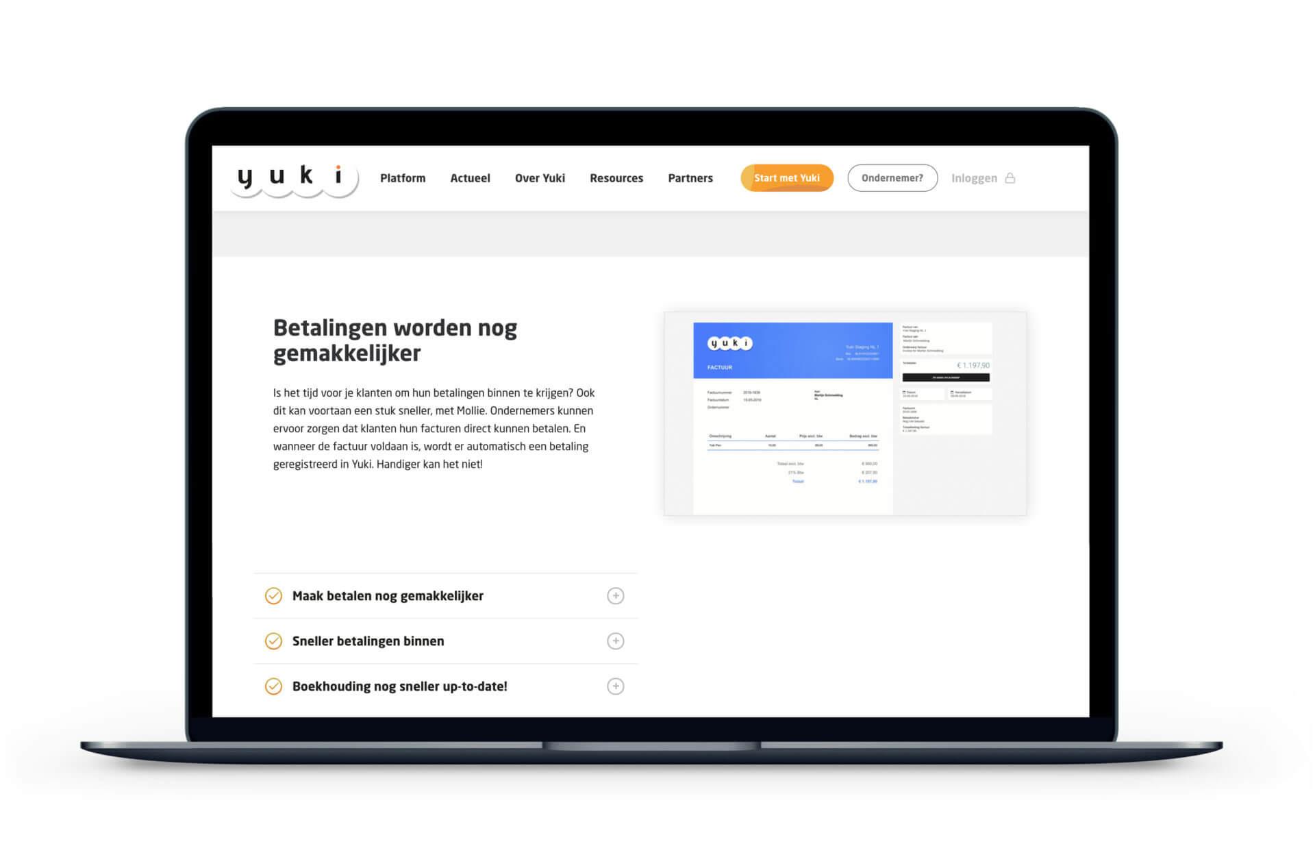 Yuki website voorbeeld