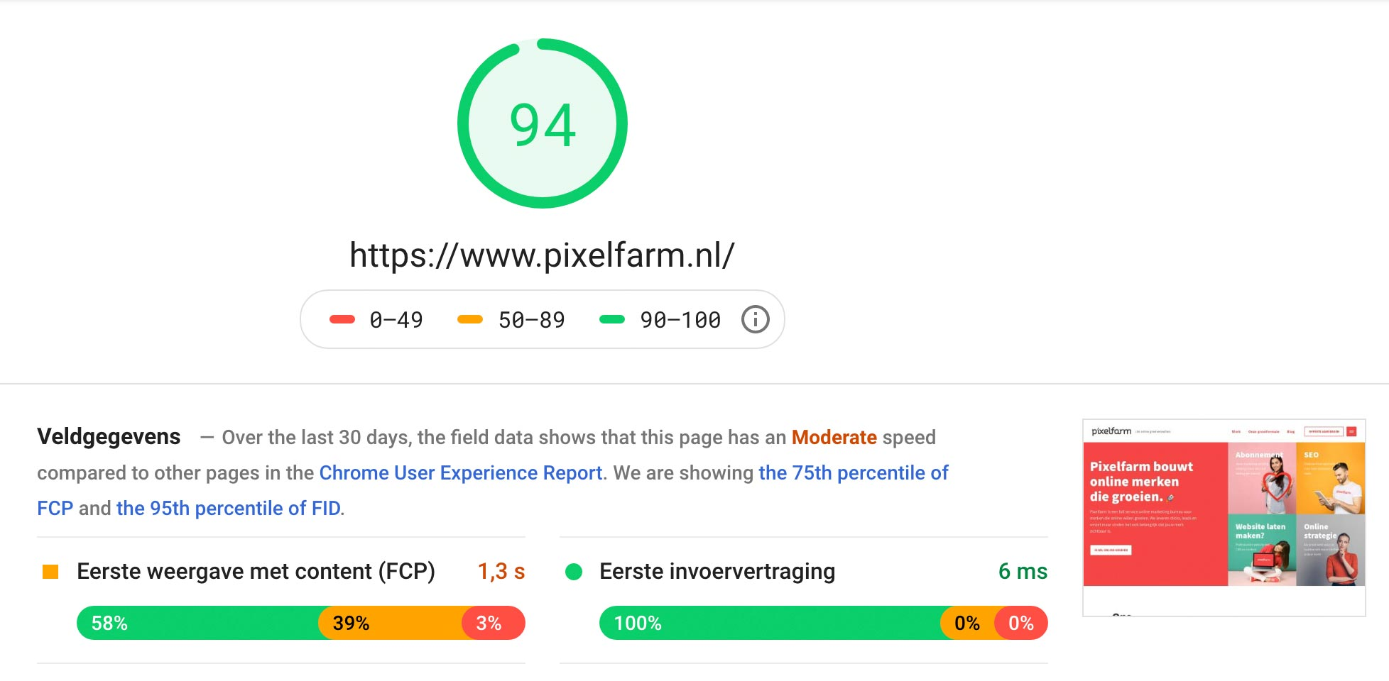 Google Pagespeed website analyse tool