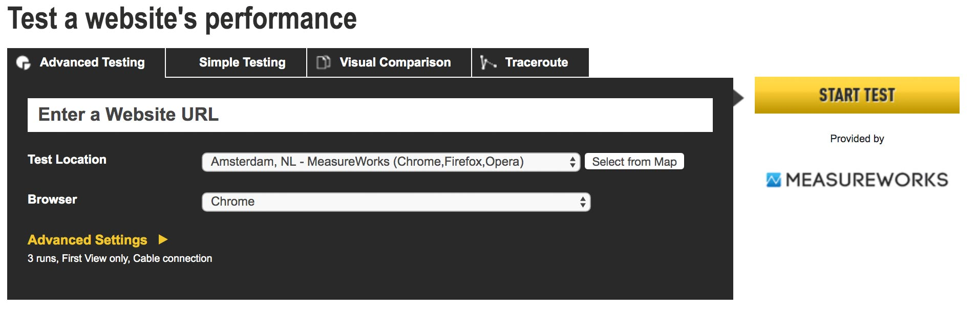 Webpagetest snelheids test website analyse tools